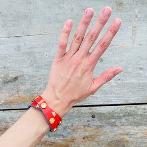 ♥️ Tory Burch ♥️ Red & Blue Leather Wrap Bracelet